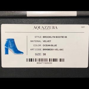 Aquazzura Shoes - Aquazzura Brooklyn Bootie 85 Velvet Ocean Blue